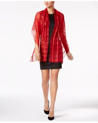 Calvin Klein - Red Shadow Striped Wrap & Scarf In One - Lyst