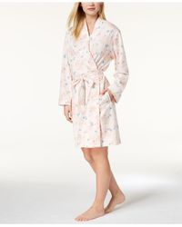 Charter Club - Pink Rose-print Cotton Robe, Created For Macy's - Lyst