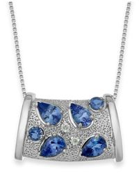 Macy's - Metallic Tanzanite (1-3/4 Ct. T.w.) And Diamond Accent Pendant Necklace In Sterling Silver - Lyst