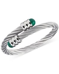 Charriol - Metallic Women's Celtic Malachite-accent Stainless Steel Cable Bangle Bracelet 04-01-1165-4 - Lyst