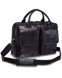 "Mancini Black Arizona Collection Double Compartment 15.6"" Laptop / Tablet Briefcase for men"