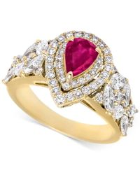 Rare Featuring Gemfields - Pink Certified Ruby (5/8 Ct. T.w.) And Diamond (1-1/10 Ct. T.w.) Ring In 14k Gold - Lyst