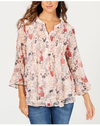 Charter Club Pink Petite Double-ruffle Top, Created For Macy