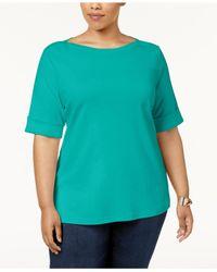 Karen Scott Blue Plus Size Cotton Cuffed-sleeve Top, Created For Macy's