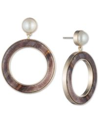 DKNY Metallic Gold-tone Imitation Pearl & Horn Drop Hoop Earrings, Created For Macy's