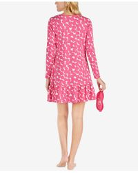 Kate Spade | Pink Ruffled-hem Sleepshirt With Eye Mask | Lyst
