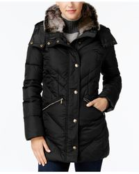 London Fog - Black Petite Faux-fur-trimmed Down Puffer Coat - Lyst