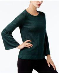 Calvin Klein - Green Bell-sleeve Sweater - Lyst