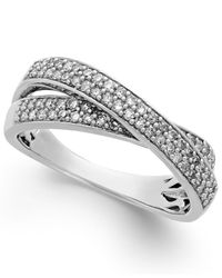 Macy's Metallic Diamond Crossover Ring In Sterling Silver (1/2 Ct. T.w.)