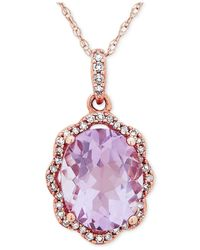 Macy's Pink Amethyst (2-5/6 Ct. T.w.) & Diamond (1/10 Ct. T.w.) Pendant Necklace In 10k Rose Gold