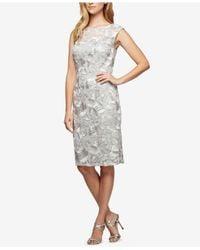Alex Evenings - Multicolor Petite Embroidered Illusion Dress - Lyst