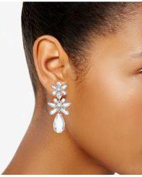 Kate Spade Metallic Silver-tone Crystal & Imitation Pearl Flower Triple Drop Earrings