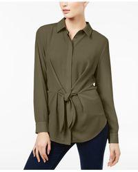 INC International Concepts Green Tie-front Shirt