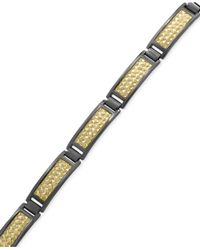 Effy Collection - Metallic Men's Herringbone Link Bracelet In 18k Gold-plated And Black Rhodium-plated Sterling Silver for Men - Lyst