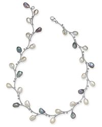 """Macy's - Metallic White & Pink Keshi Freshwater Pearl (7-1/2mm) Vine 17-1/2"""" Collar Necklace In Sterling Silver - Lyst"""