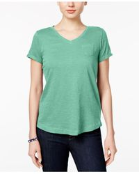 Style & Co. Green Petite V-neck Pocket T-shirt, Created For Macy