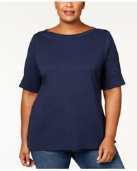 Karen Scott Blue Plus Size Boatneck Top, Created For Macy's