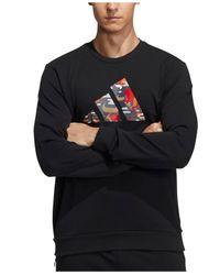 Adidas Black Lunar New Year Graphic Crewneck Sweatshirt for men