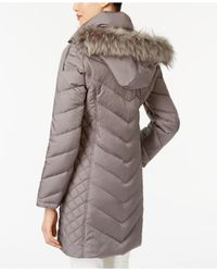 Kenneth Cole Blue Faux-Fur-Trim Chevron Quilted Down Coat