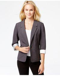 Kensie - Gray Long-sleeve Faux-pocket Blazer - Lyst