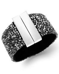 INC International Concepts - Metallic Silver-tone Hematite Stone Wide Bangle Bracelet - Lyst