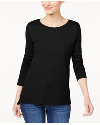 Style & Co. - Black High-low Long-sleeve T-shirt - Lyst