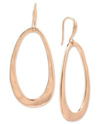 Robert Lee Morris - Pink Rose Gold-tone Hammered Drop Hoop Earrings - Lyst