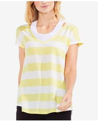 Vince Camuto Yellow Striped T-shirt