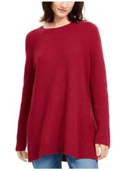 Eileen Fisher Red Bateau-neck Tunic Sweater