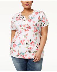 Karen Scott White Plus Size Printed Short-sleeve Henley Top, Created For Macy's
