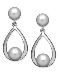 Macy's - Metallic Sterling Silver Earrings, Cultured Freshwater Pearl Teardrop Earrings - Lyst