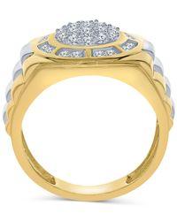 Macy's Metallic Men's Diamond Cluster Two-tone Ring (1 Ct. T.w.) In 10k Gold & White Gold