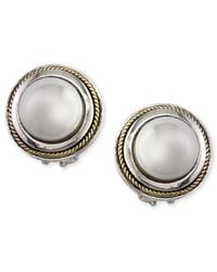 Effy Collection Metallic Cultured Freshwater Pearl Scroll Side Earrings In 18k Gold And Sterling Silver