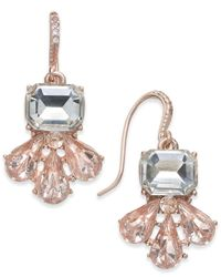 Charter Club - Pink Rose Gold-tone Multi-stone Drop Earrings, Created For Macy's - Lyst
