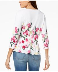 INC International Concepts - Multicolor I.n.c. Floral-print Peplum Cardigan, Created For Macy's - Lyst