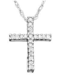 Macy's Metallic Diamond Cross Pendant Necklace In 14k White Gold (1/10 Ct. T.w.)