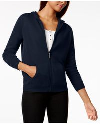 Charter Club | Blue Cashmere Zippered Hoodie | Lyst