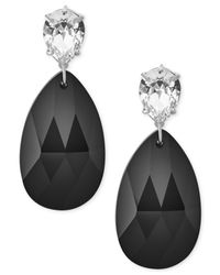 Michael Kors - Metallic Silver-tone Jet And Clear Crystal Drop Earrings - Lyst