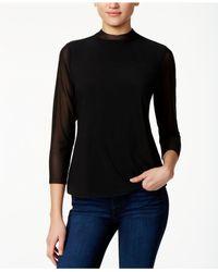 Kensie | Black Mock-neck 3/4-sleeve Top | Lyst