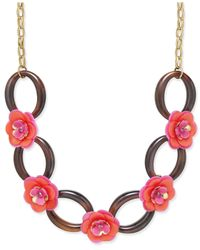 Kate Spade - Pink Gold-tone Crystal Accent Flower Statement Necklace - Lyst