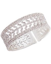 Anne Klein - Metallic Silver-tone Pavé Cuff Bracelet - Lyst