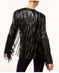 INC International Concepts - Black Leather-fringe Jacket - Lyst