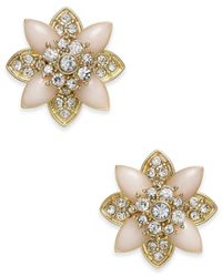 Charter Club - Metallic Gold-tone Crystal & Pink Stone Stud Earrings - Lyst