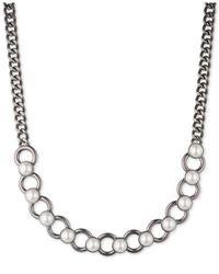 DKNY - White Hematite-tone Imitation Pearl Collar Necklace - Lyst