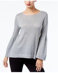 Calvin Klein - Gray Bell-sleeve Sweater - Lyst