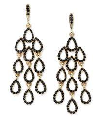 INC International Concepts - Black Gold-tone Jet Pavé Waterfall Chandelier Earrings - Lyst