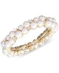 Anne Klein - Metallic Gold-tone Imitation Pearl And Crystal Stretch Bracelet - Lyst