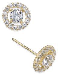 Macy's Metallic Flower Cluster Cubic Zirconia Stud Earrings In 10k Gold