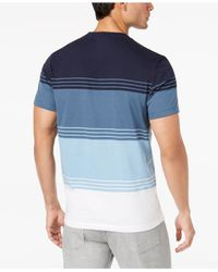 Alfani - Blue Men's Colorblocked Striped T-shirt for Men - Lyst