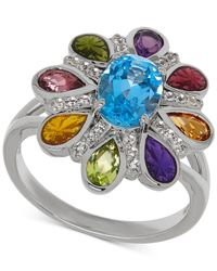 Macy's | Multicolor Multi-gemstone Floral Ring (2-3/8 Ct. T.w.) In Sterling Silver | Lyst
